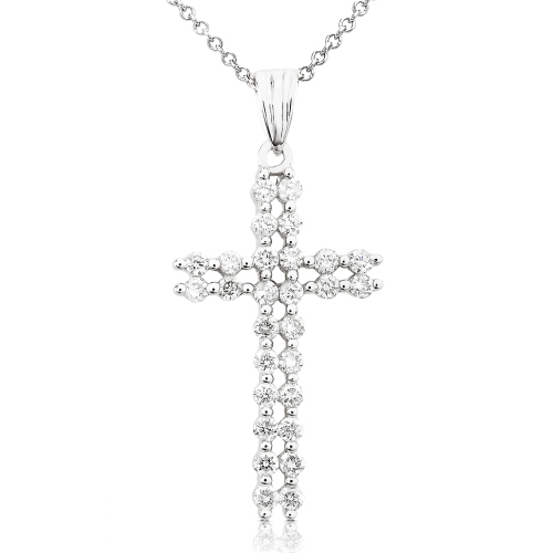 Diamond Cross Pendant in 14k White Gold